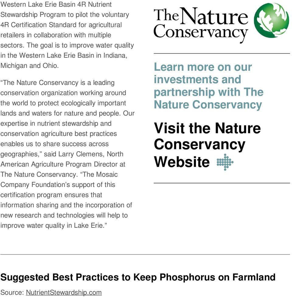 The Nature Conservancy is a leading conservation organization working around the world to protect ecologically important lands and waters for nature and people.