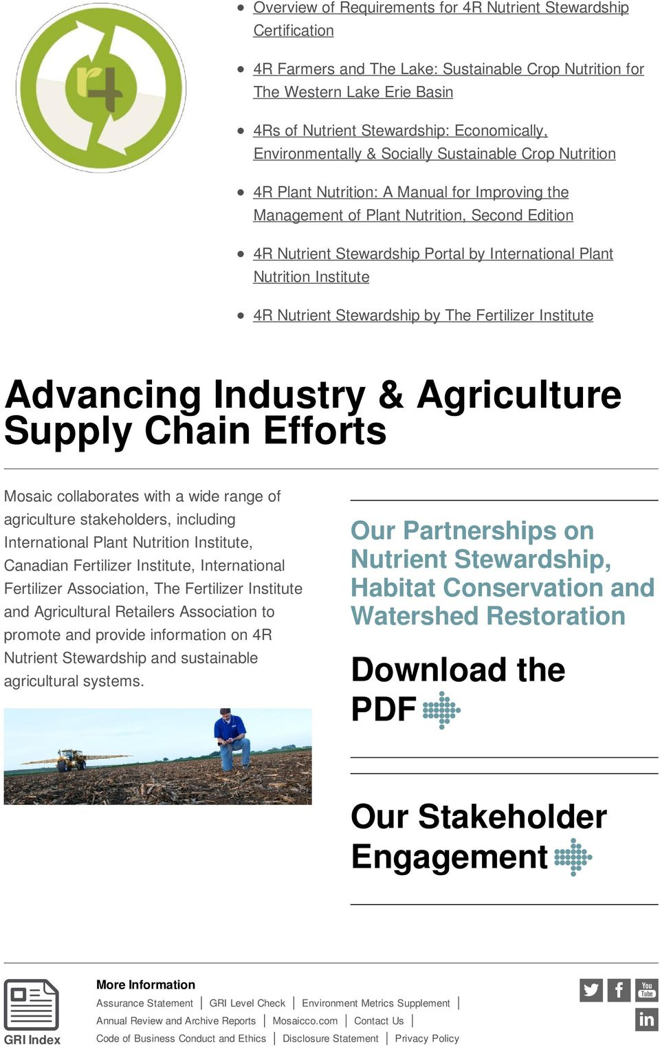 Plant Nutrition Institute 4R Nutrient Stewardship by The Fertilizer Institute Advancing Industry & Agriculture Supply Chain Efforts Mosaic collaborates with a wide range of agriculture stakeholders,