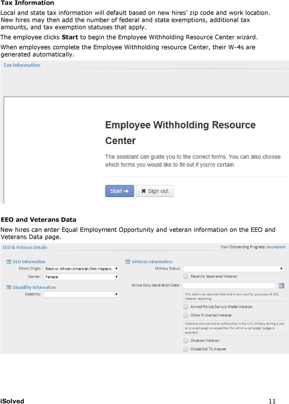 The employee clicks Start to begin the Employee Withholding Resource Center wizard.
