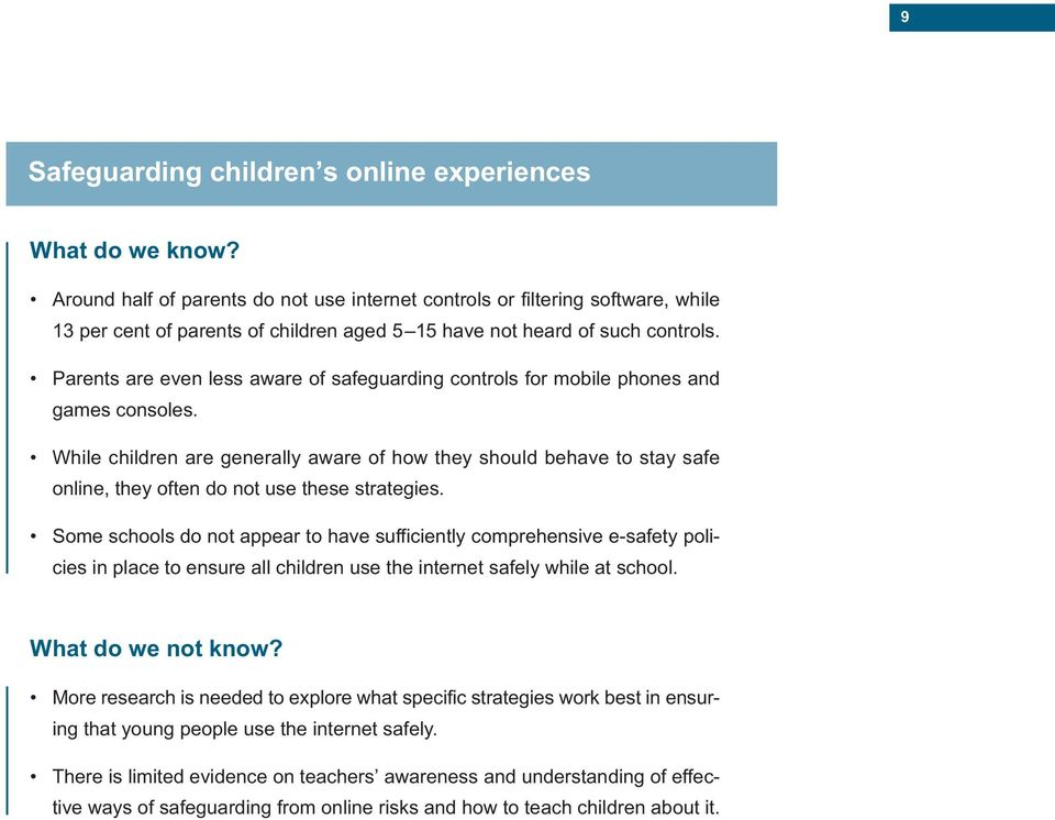Parents are even less aware of safeguarding controls for mobile phones and games consoles.