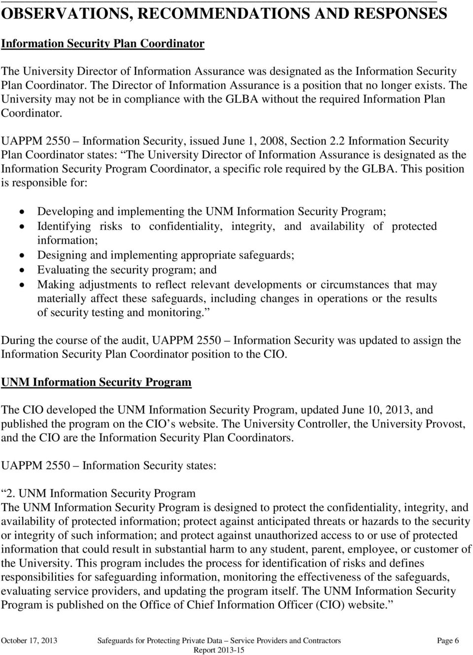 UAPPM 2550 Information Security, issued June 1, 2008, Section 2.