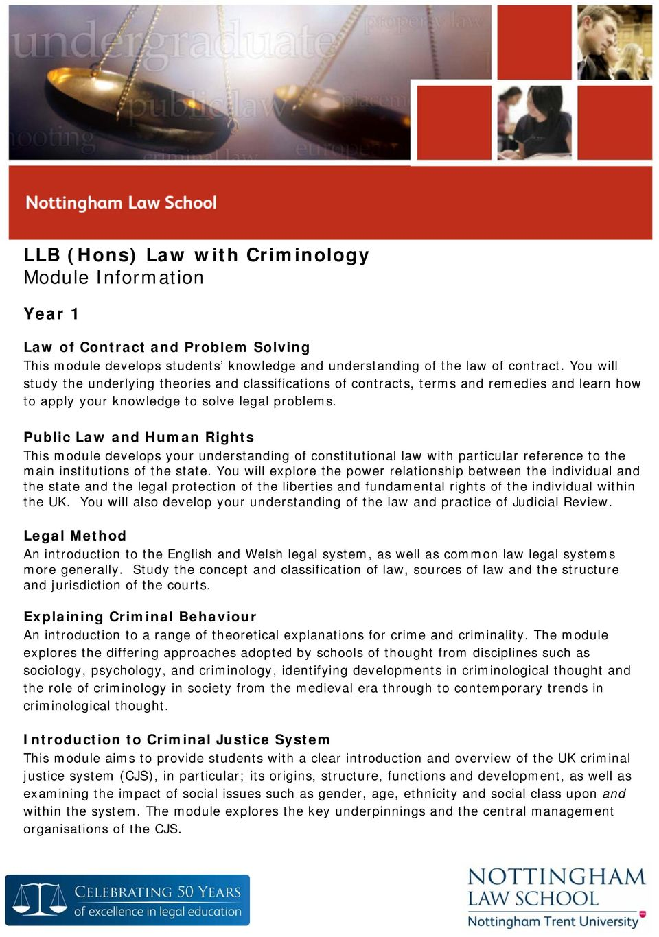 Public Law and Human Rights This module develops your understanding of constitutional law with particular reference to the main institutions of the state.