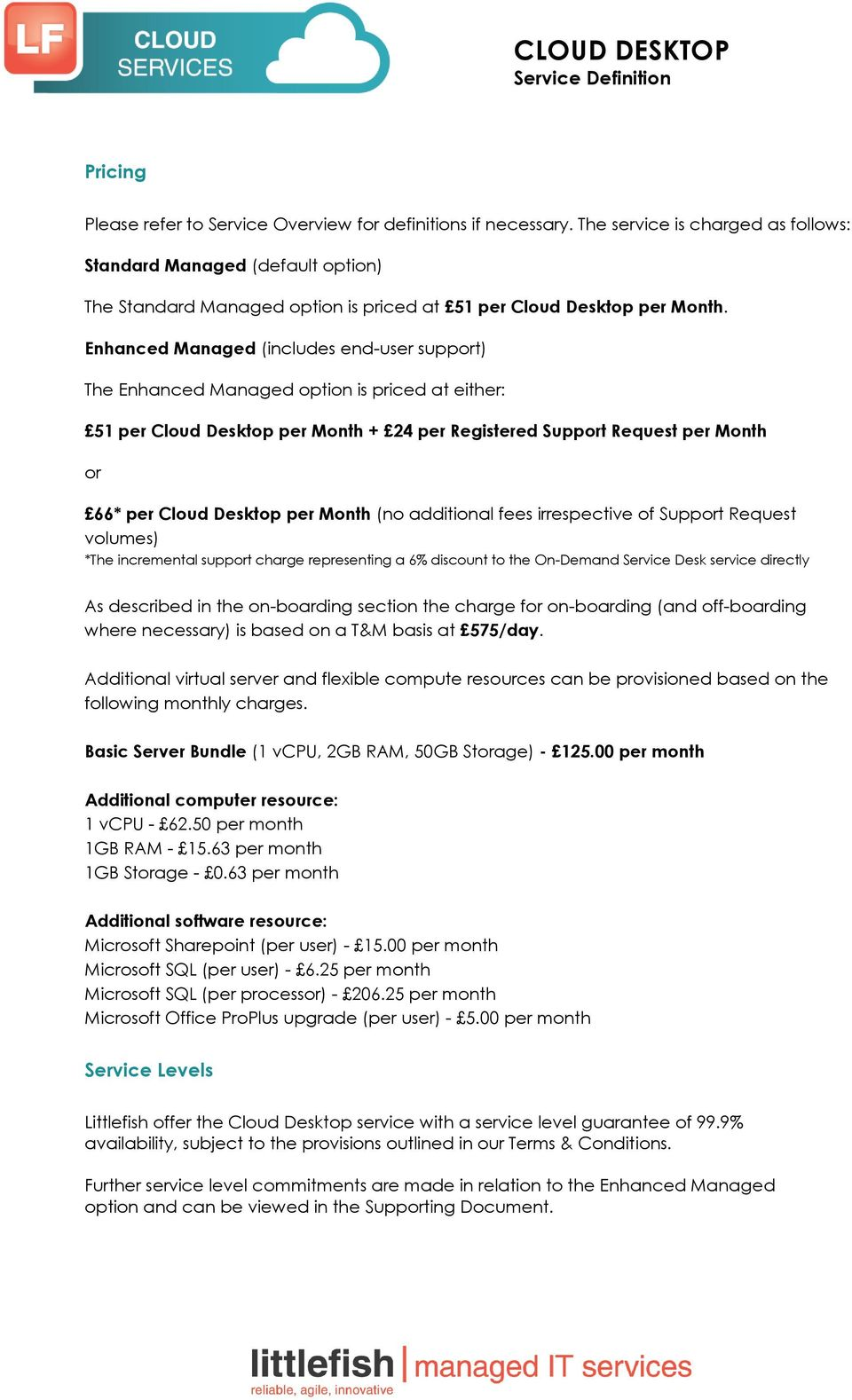 Enhanced Managed (includes end-user support) The Enhanced Managed option is priced at either: 51 per Cloud Desktop per Month + 24 per Registered Support Request per Month or 66* per Cloud Desktop per