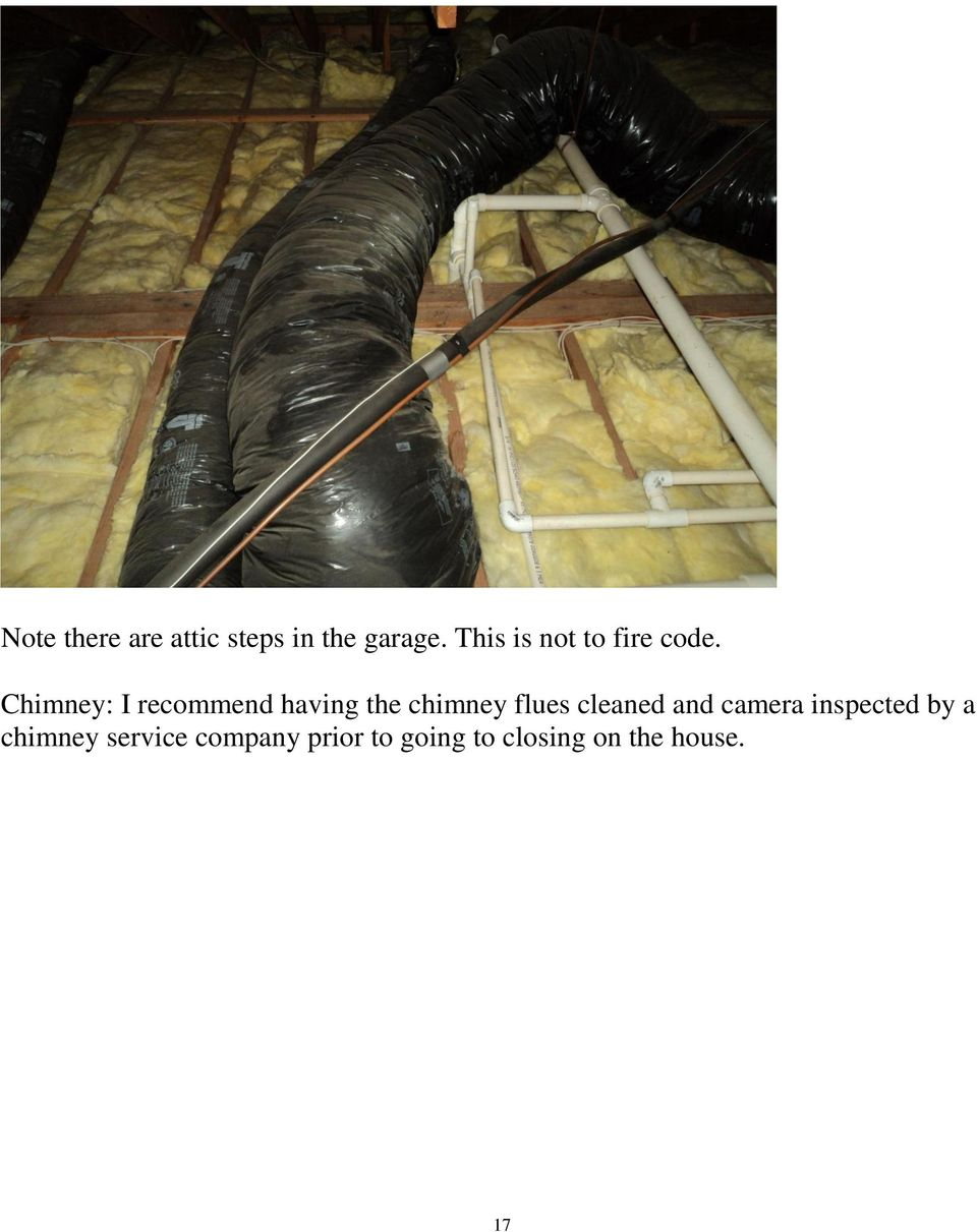 Chimney: I recommend having the chimney flues cleaned