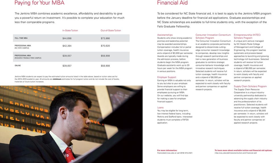 In- State Tuition Out-of-State Tuition To be considered for NC State financial aid, it is best to apply to the Jenkins MBA program before the January deadline for financial aid applications.