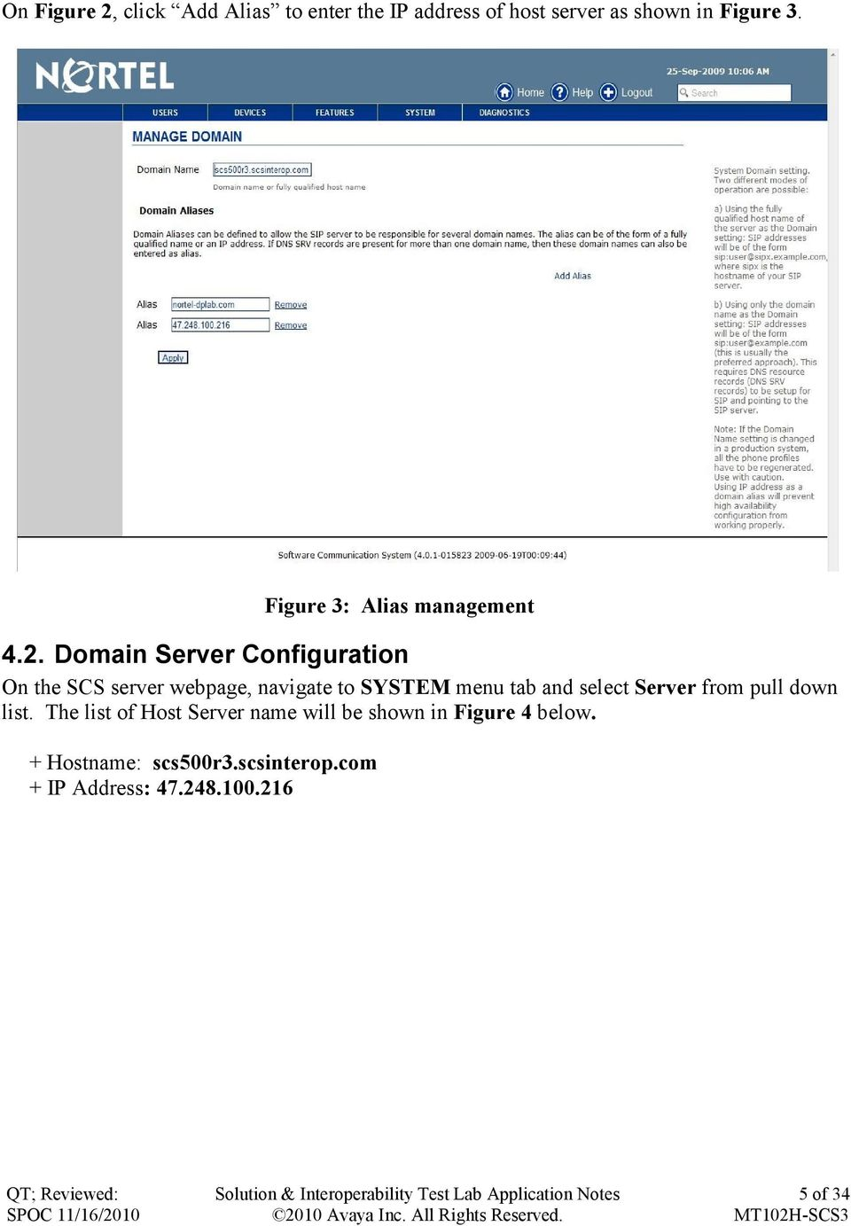 Domain Server Configuration On the SCS server webpage, navigate to SYSTEM menu tab and select