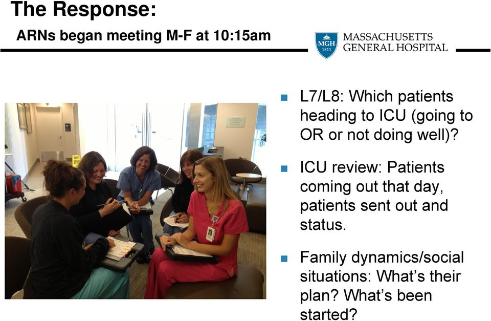 ICU review: Patients coming out that day, patients sent out and