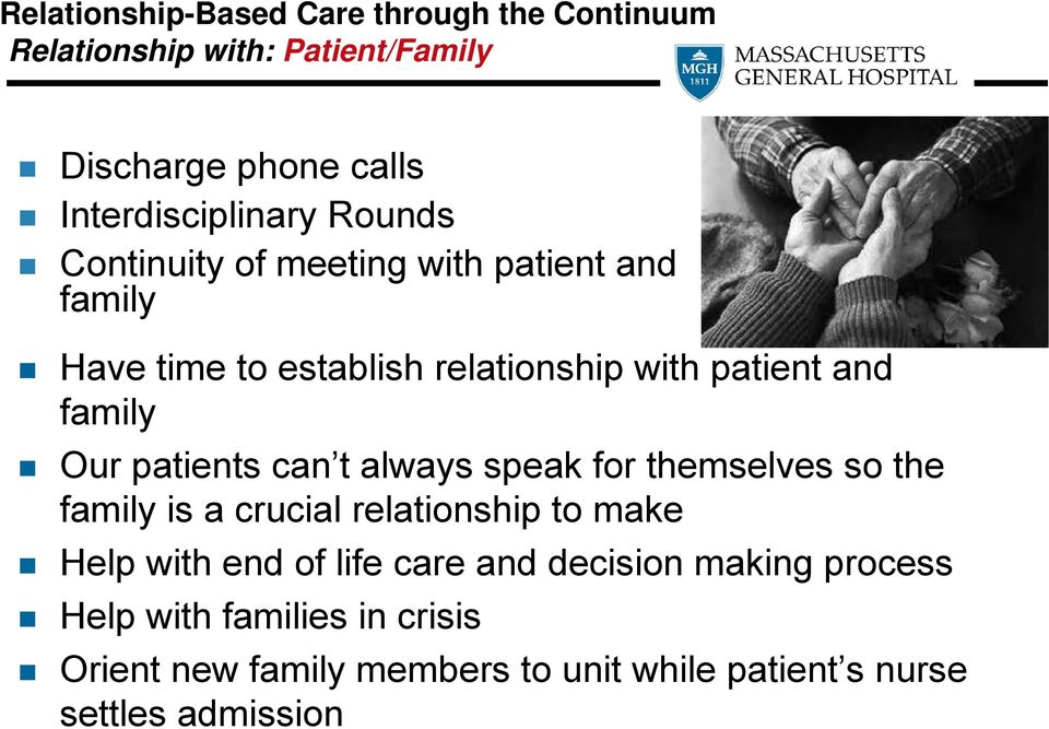 patients can t always speak for themselves so the family is a crucial relationship to make Help with end of life care and