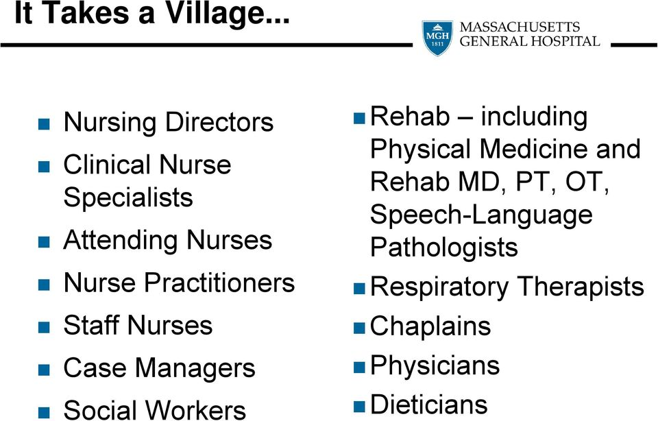 Practitioners Staff Nurses Case Managers Social Workers Rehab including