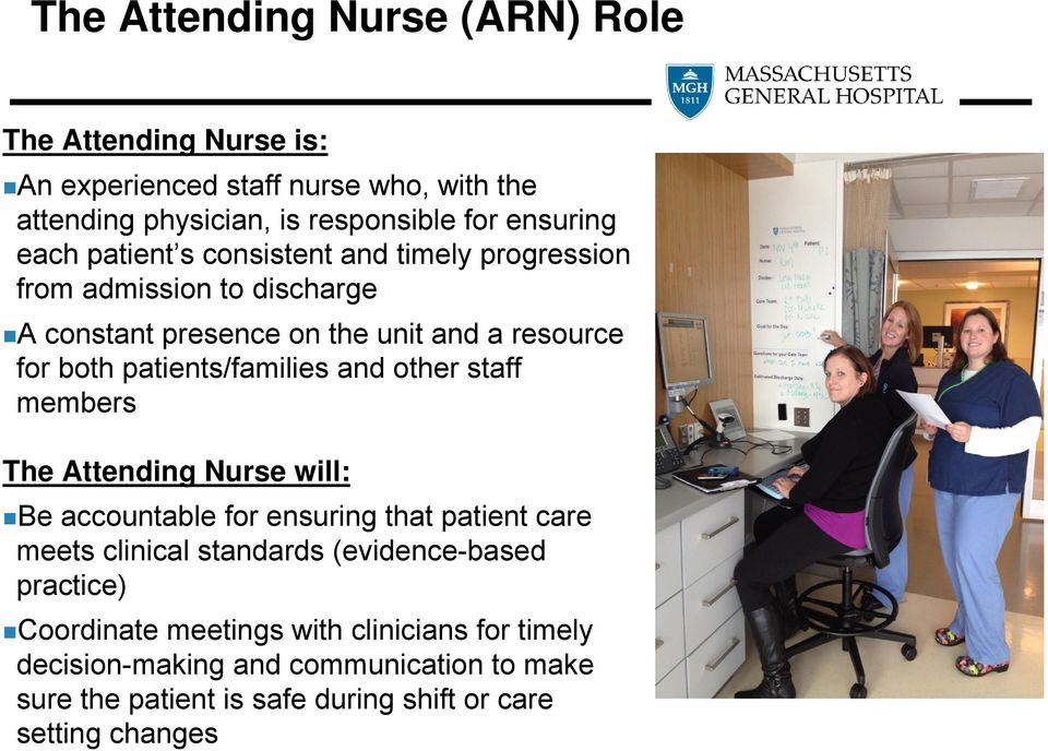 patients/families and other staff members The Attending Nurse will: Be accountable for ensuring that patient care meets clinical standards