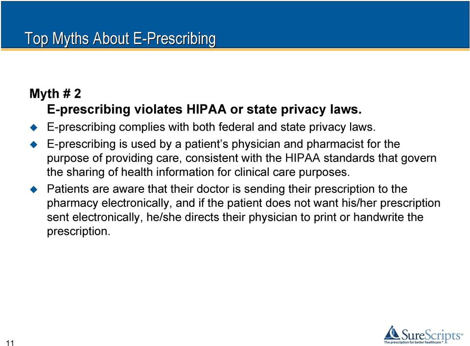 E-prescribing is used by a patient s physician and pharmacist for the purpose of providing care, consistent with the HIPAA standards that govern the