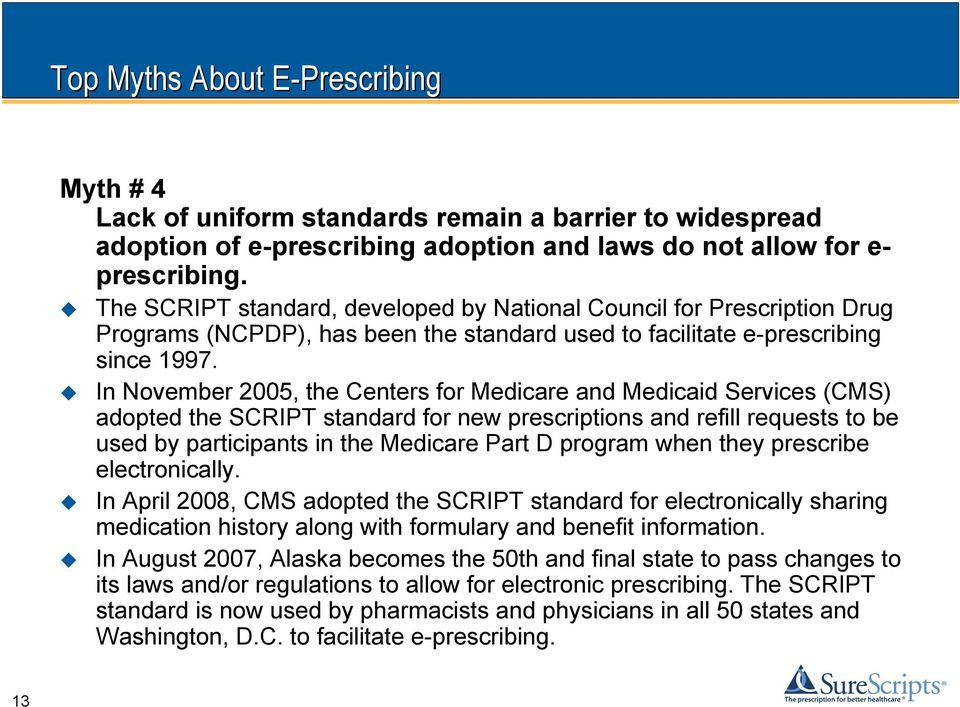 In November 2005, the Centers for Medicare and Medicaid Services (CMS) adopted the SCRIPT standard for new prescriptions and refill requests to be used by participants in the Medicare Part D program