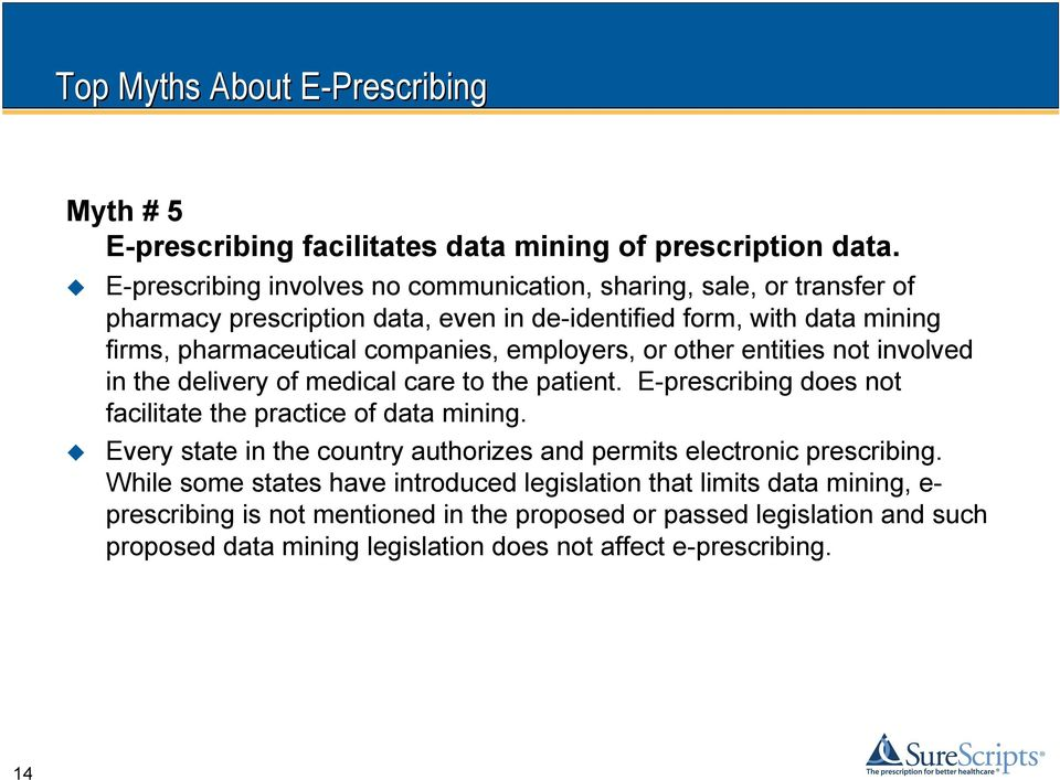 employers, or other entities not involved in the delivery of medical care to the patient. E-prescribing does not facilitate the practice of data mining.