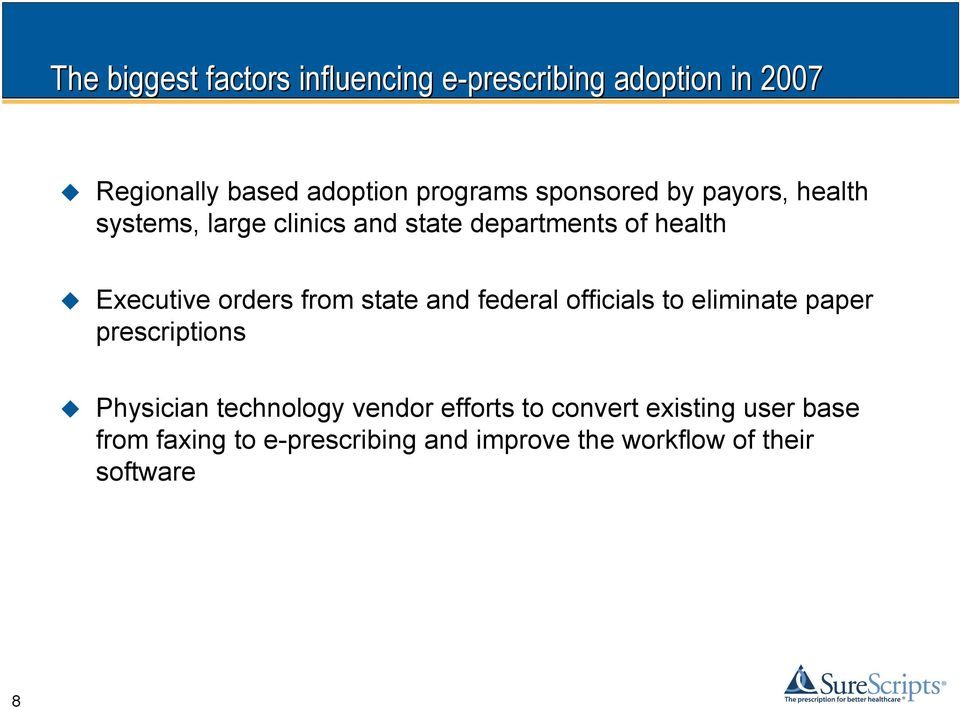 from state and federal officials to eliminate paper prescriptions Physician technology vendor efforts