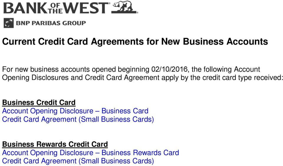 Business Credit Card Account Opening Disclosure Business Card Credit Card Agreement (Small Business Cards)