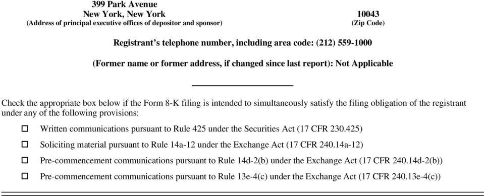 under any of the following provisions: Written communications pursuant to Rule 425 under the Securities Act (17 CFR 230.