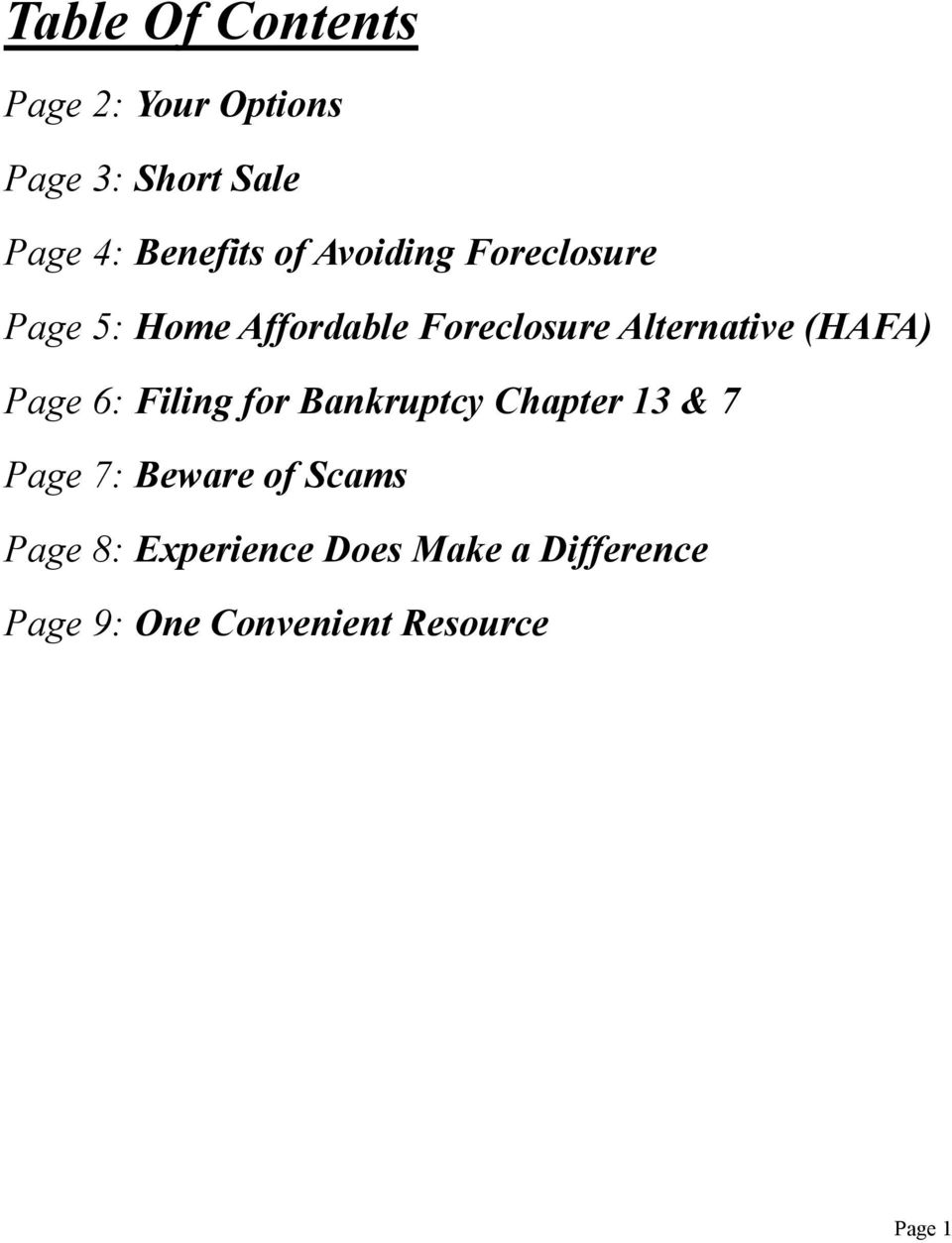 (HAFA) Page 6: Filing for Bankruptcy Chapter 13 & 7 Page 7: Beware of Scams