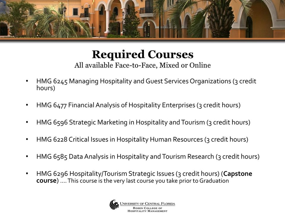 6228 Critical Issues in Hospitality Human Resources (3 credit hours) HMG 6585 Data Analysis in Hospitality and Tourism Research (3 credit hours)