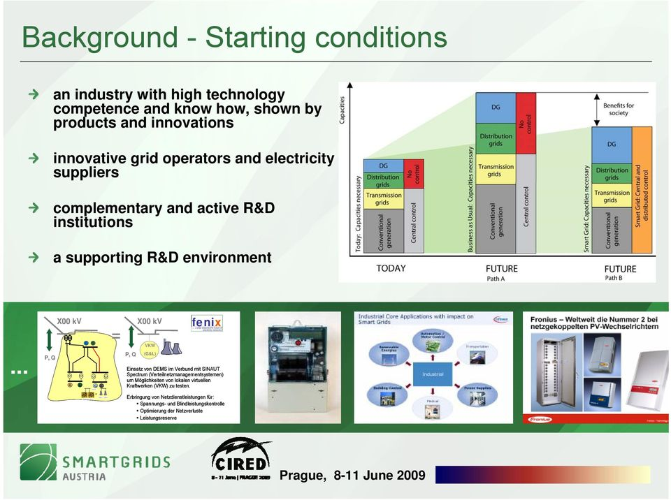 operators and electricity suppliers complementary and active R&D institutions a supporting R&D environment.