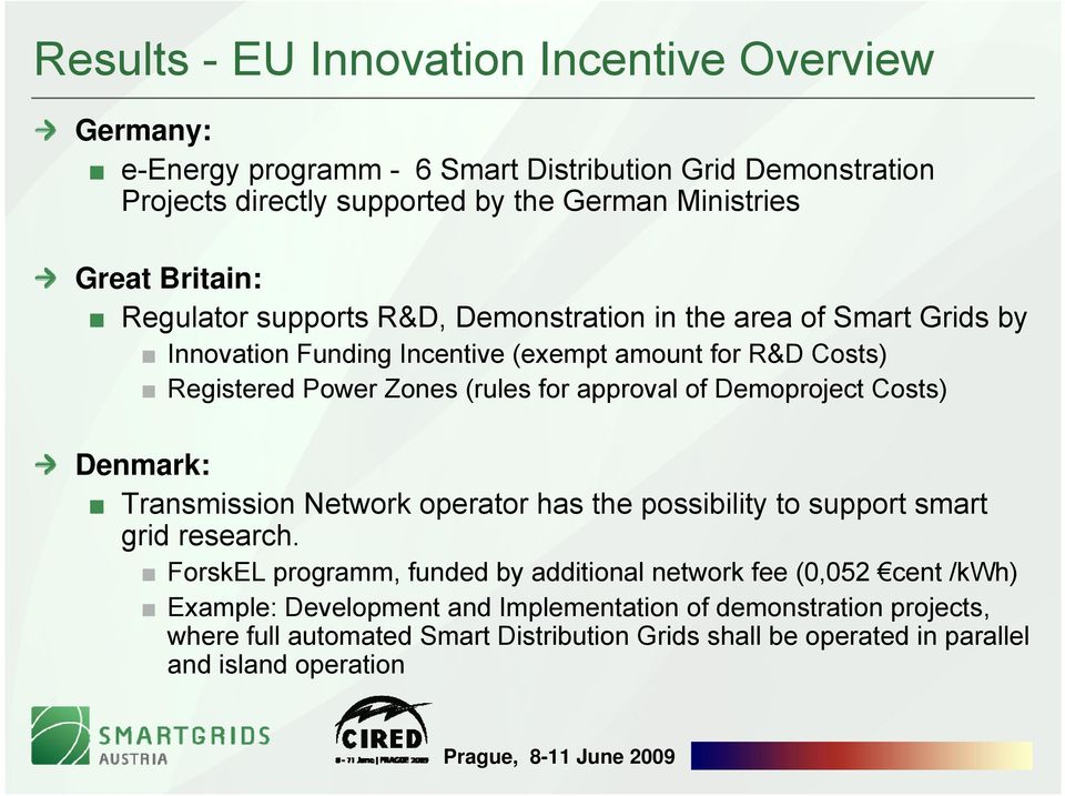 approval of Demoproject Costs) Denmark: Transmission Network operator has the possibility to support smart grid research.