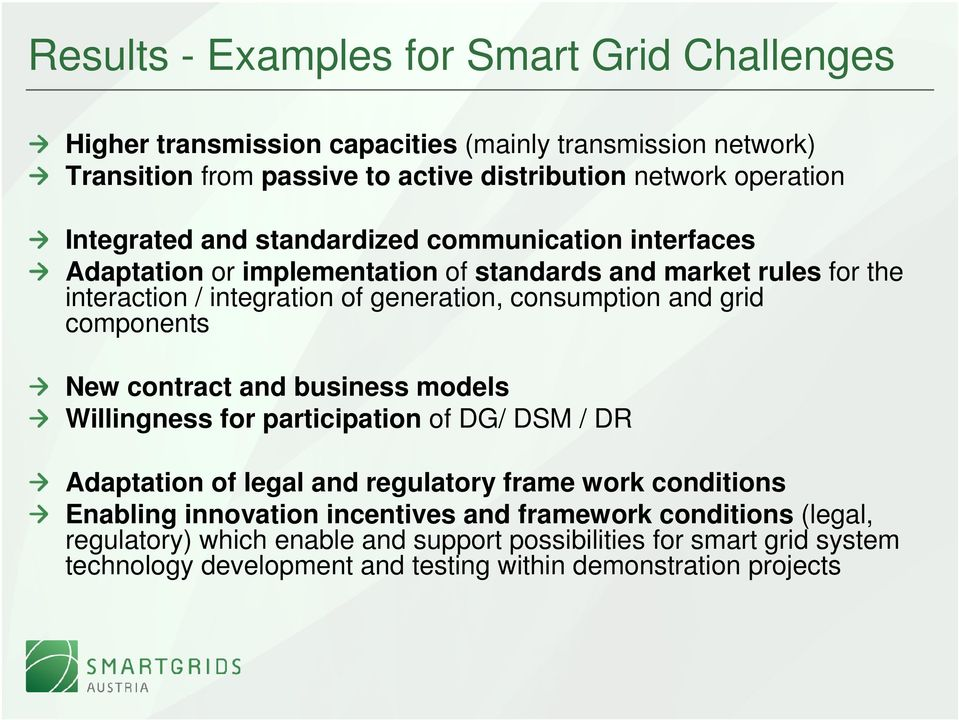 and grid components New contract and business models Willingness for participation of DG/ DSM / DR Adaptation of legal and regulatory frame work conditions Enabling innovation