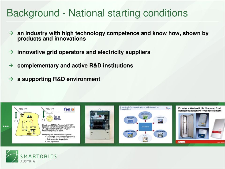 grid operators and electricity suppliers complementary and active R&D institutions a supporting R&D environment.