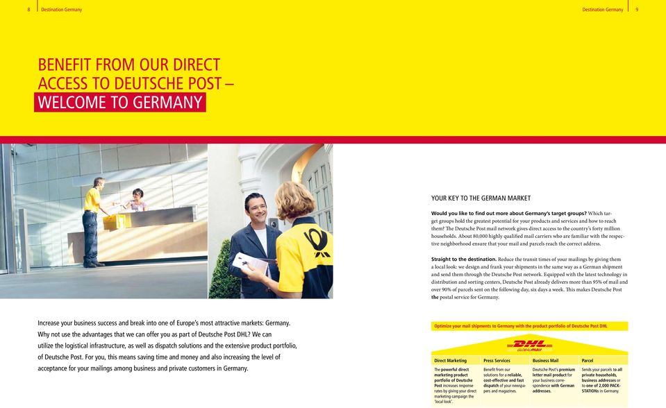 The Deutsche Post mail network gives direct access to the country s forty million households.