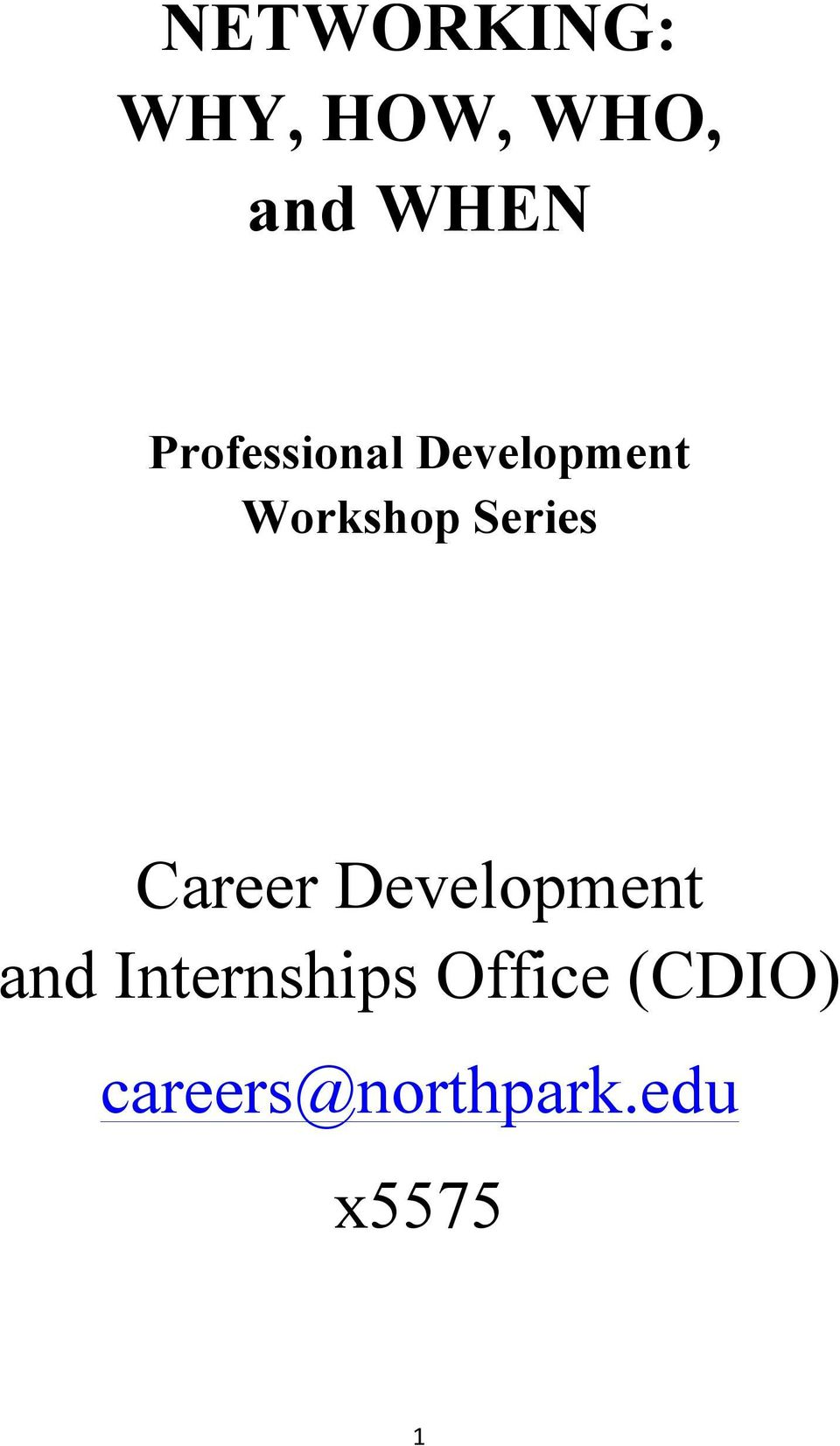 Series Career Development and