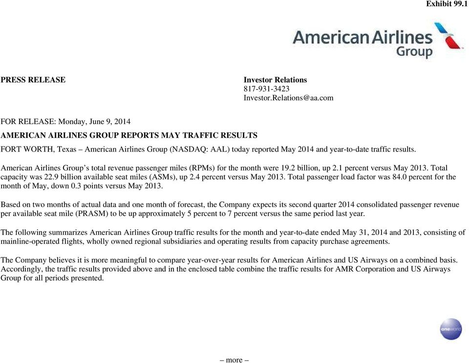 results. American Airlines Group s total revenue passenger miles (RPMs) for the month were 19.2 billion, up 2.1 percent versus May 2013. Total capacity was 22.