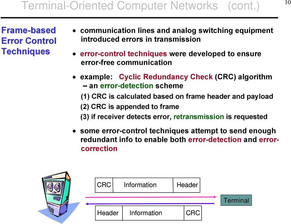 developed to ensure error-free communication example: Cyclic Redundancy Check (CRC) algorithm an error-detection scheme (1) CRC is calculated based on frame