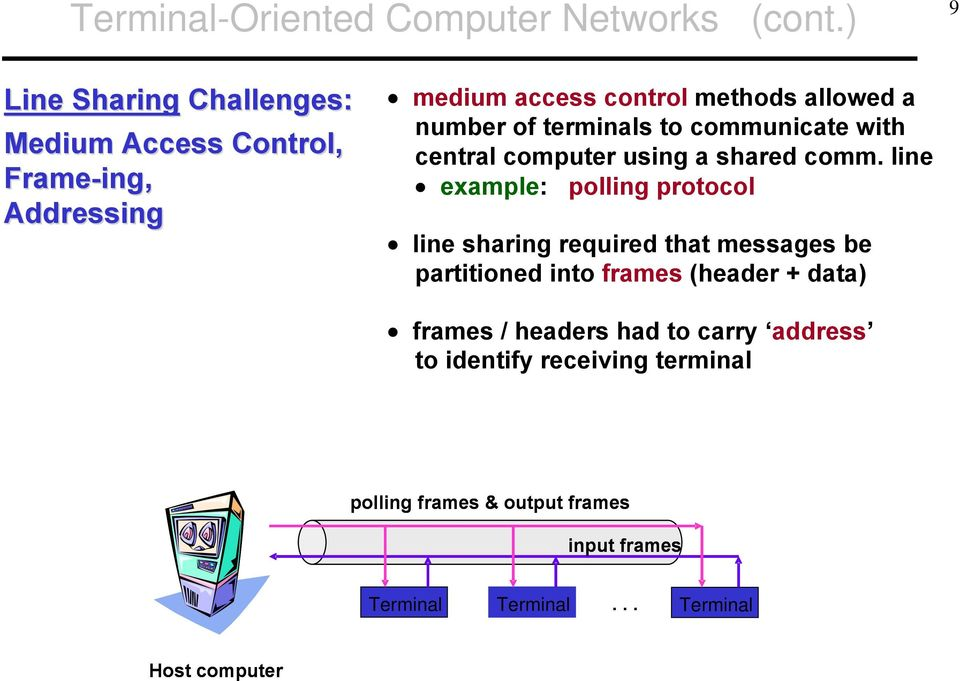 of terminals to communicate with central computer using a shared comm.