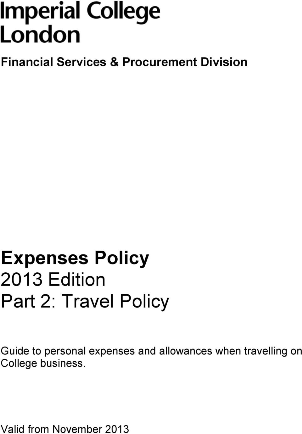 personal expenses and allowances when