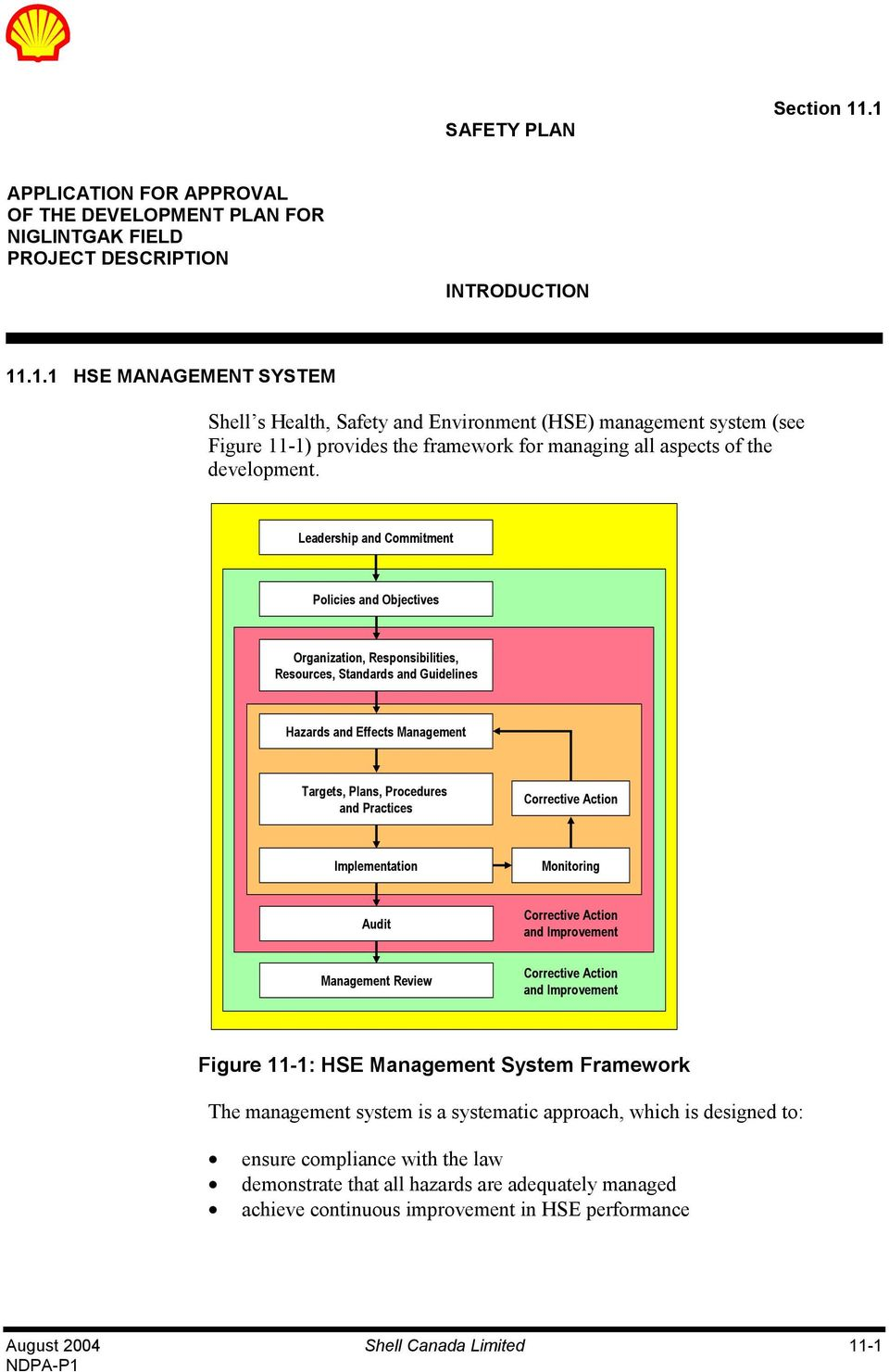 Corrective Action Implementation Monitoring Audit Corrective Action and Improvement Management Review Corrective Action and Improvement Figure 11-1: HSE Management System Framework The management