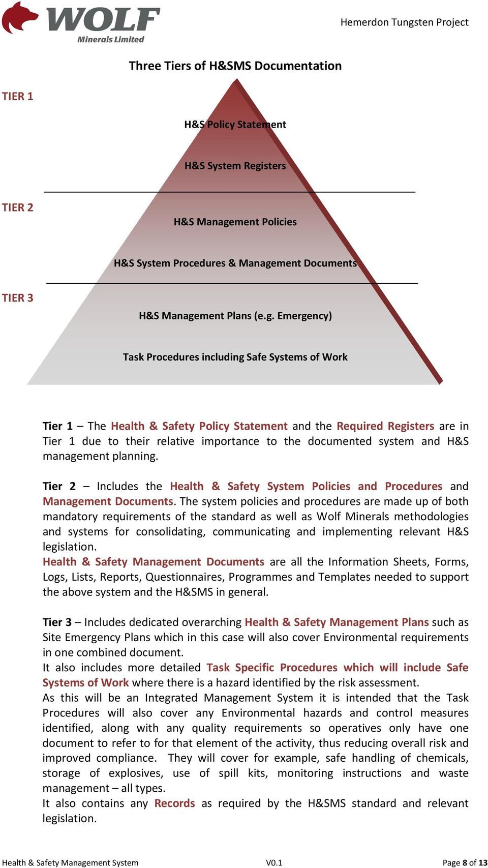 ment Policies H&S System Procedures & Manage