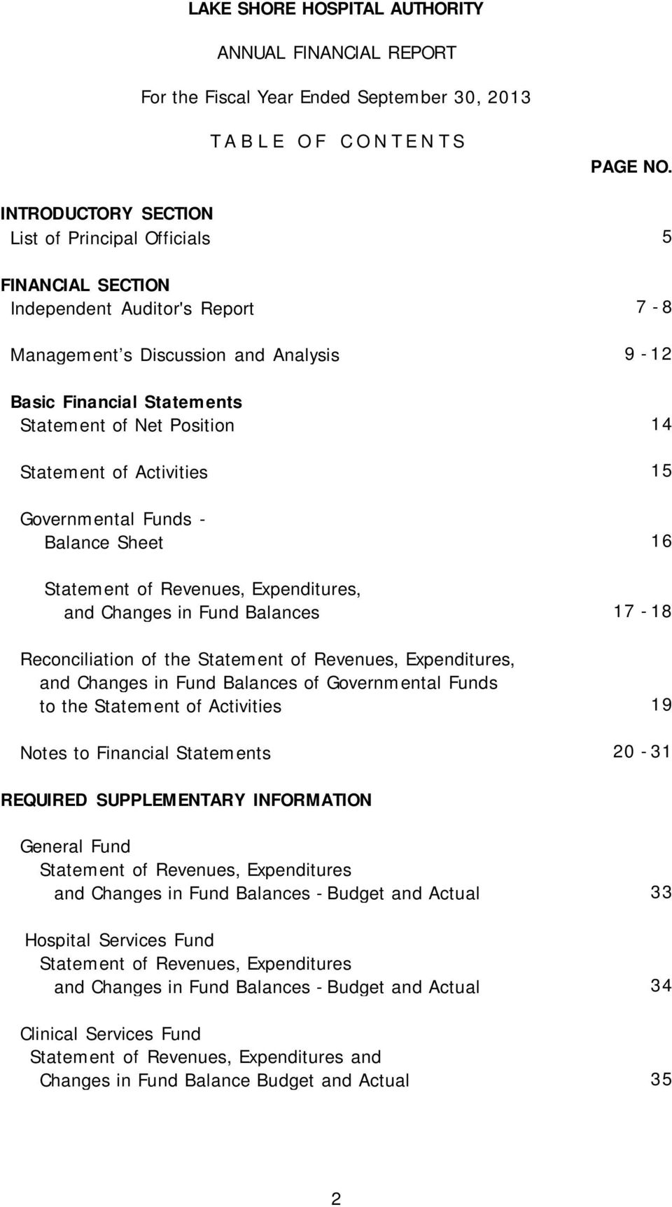 Statement of Activities 15 Governmental Funds - Balance Sheet 16 Statement of Revenues, Expenditures, and Changes in Fund Balances 17-18 Reconciliation of the Statement of Revenues, Expenditures, and