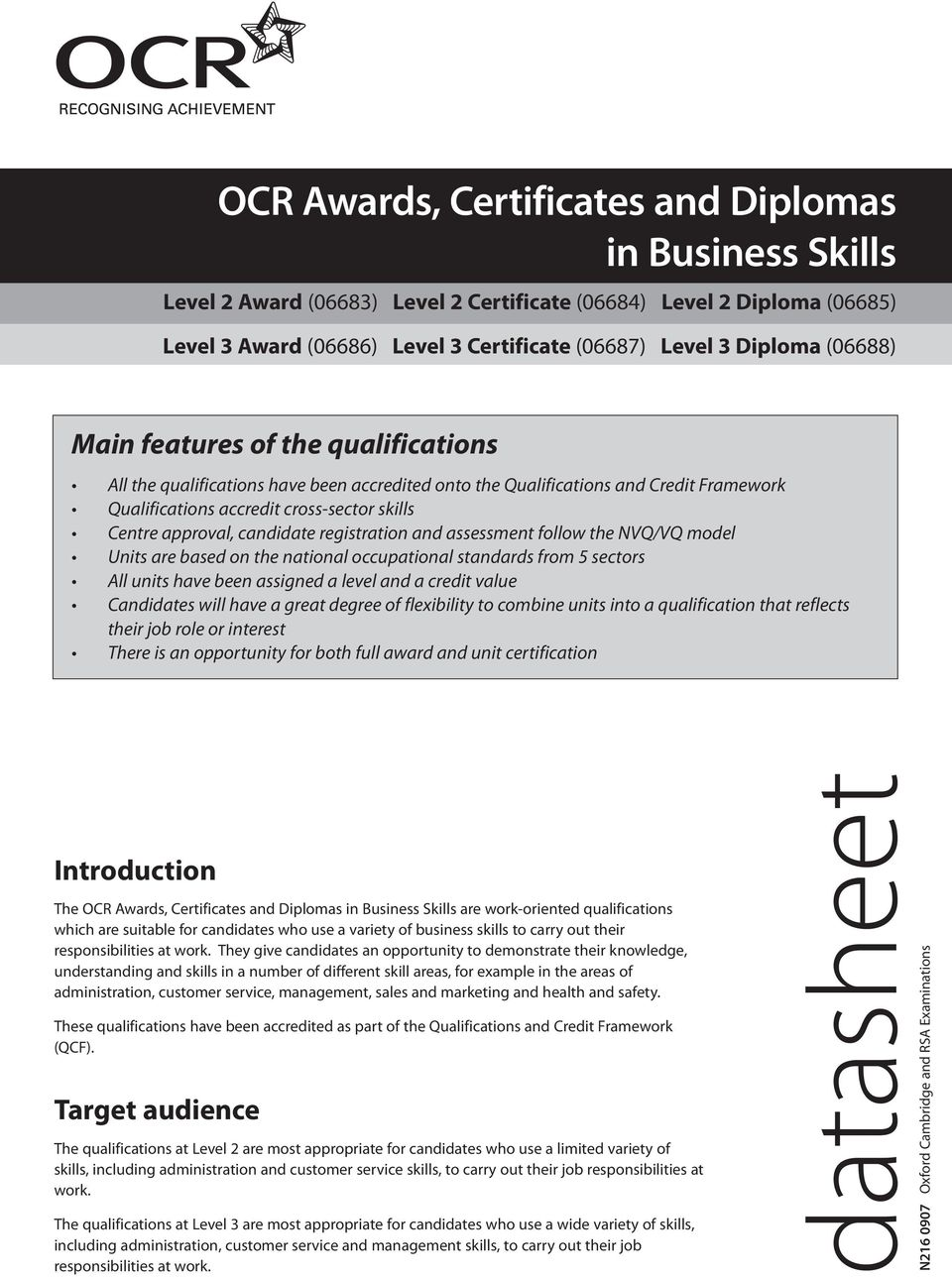 candidate registration and assessment follow the NVQ/VQ model Units are based on the national occupational standards from 5 sectors All units have been assigned a level and a credit value Candidates