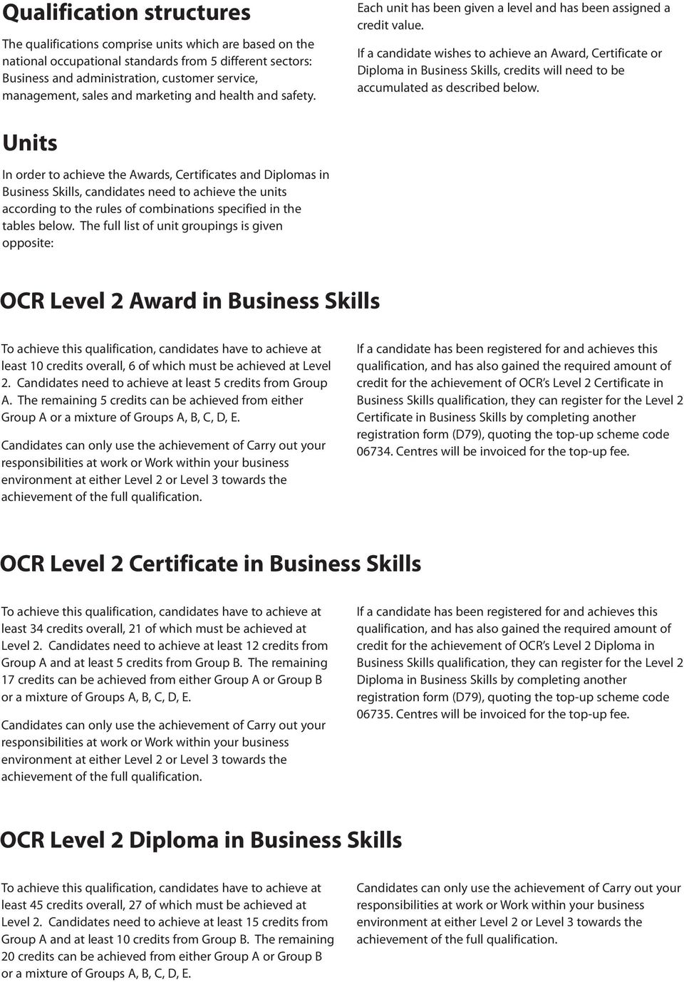 If a candidate wishes to achieve an Award, Certificate or Diploma in Business Skills, credits will need to be accumulated as described below.