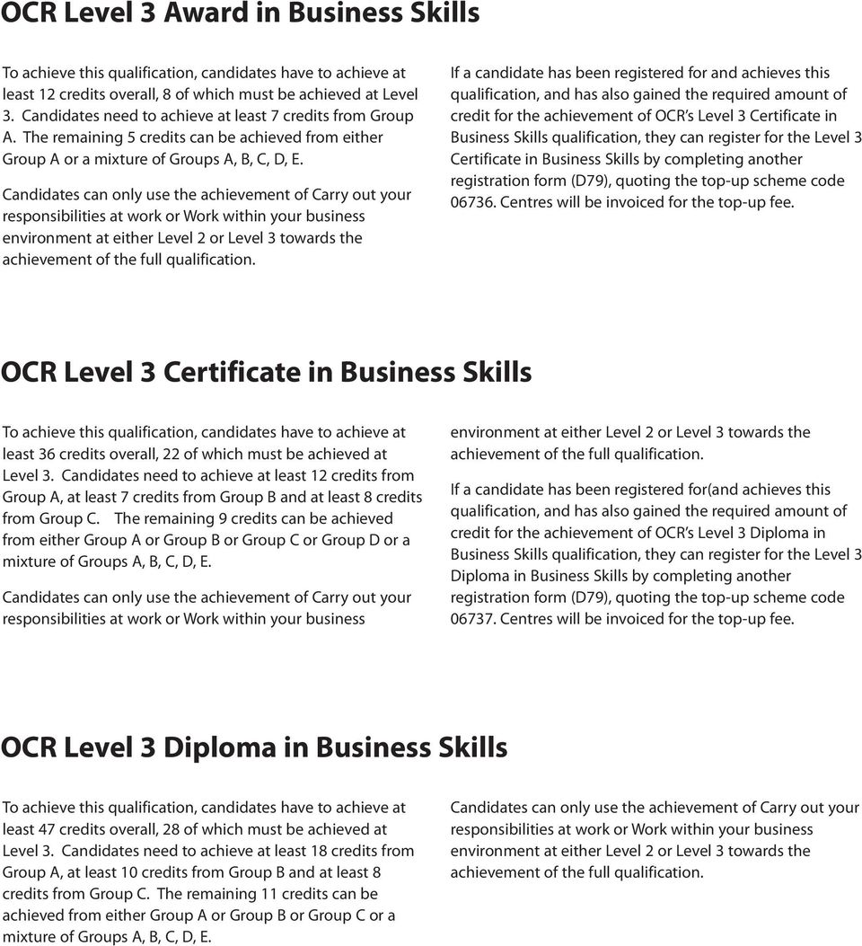 If a candidate has been registered for and achieves this qualification, and has also gained the required amount of credit for the achievement of OCR s Level 3 Certificate in Business Skills