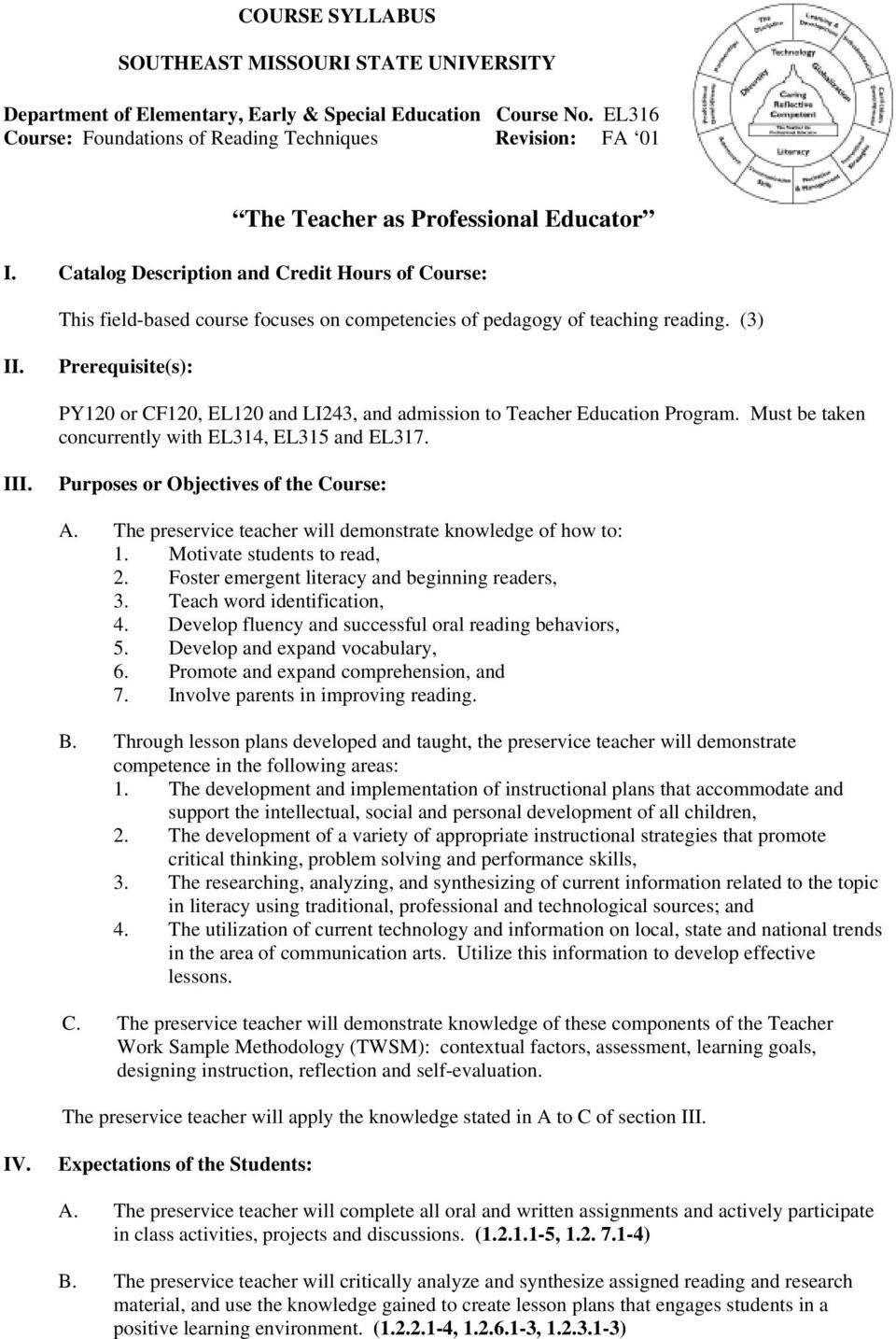 Catalog Description and Credit Hours of Course: This field-based course focuses on competencies of pedagogy of teaching reading. (3) II.