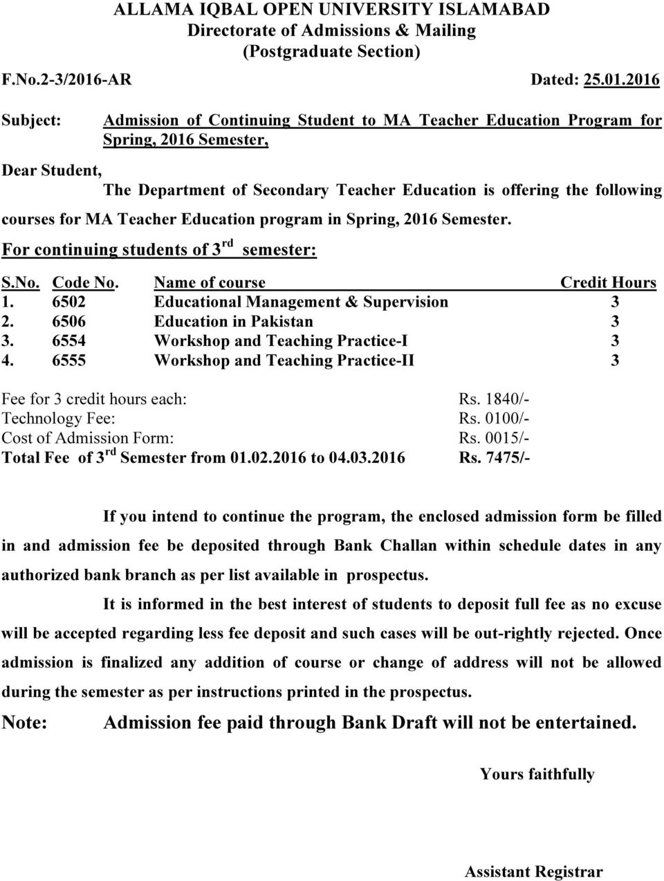 2016 Subject: Admission of Continuing Student to MA Teacher Education Program for Spring, 2016 Semester, The Department of Secondary Teacher Education is offering