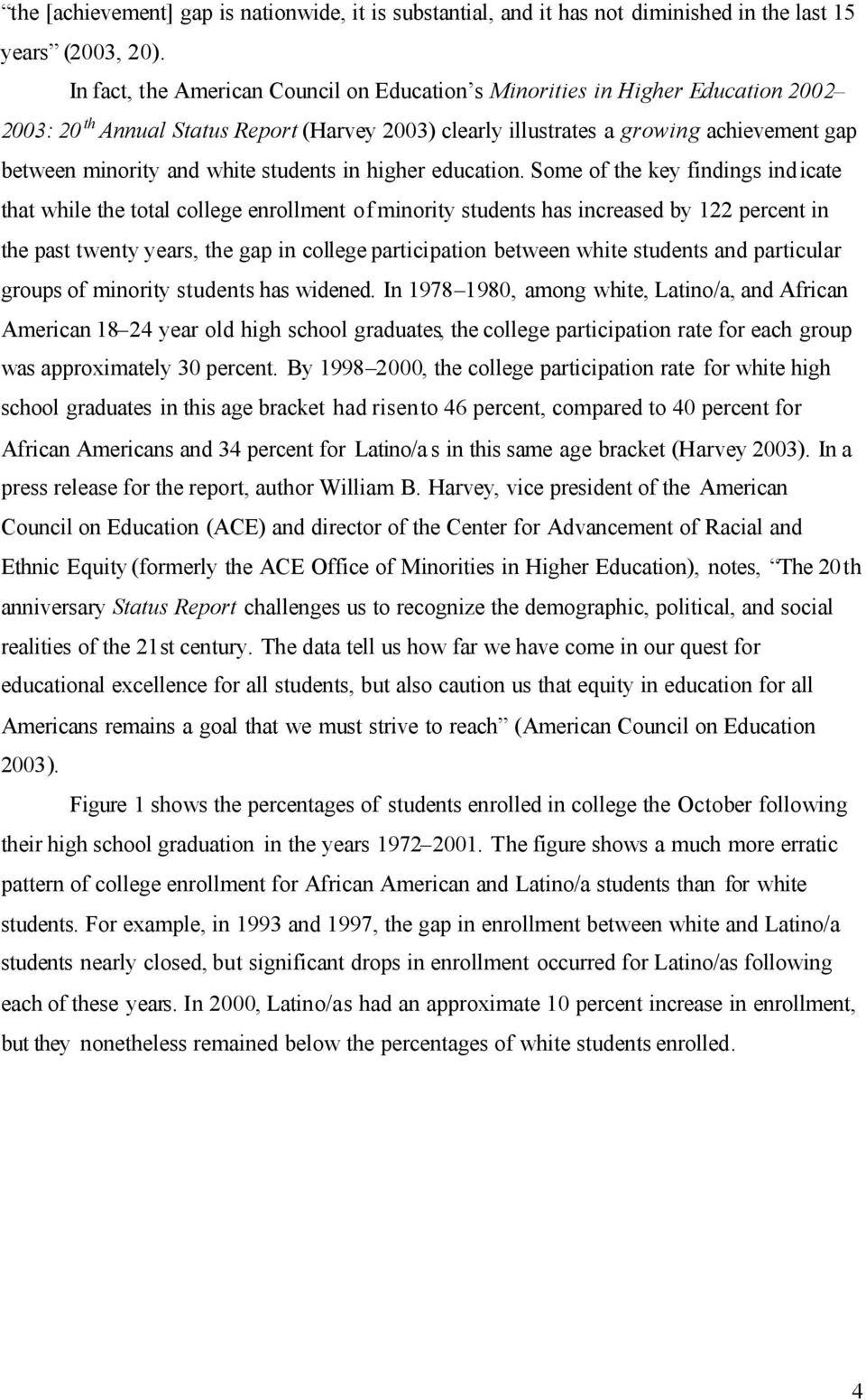 white students in higher education.