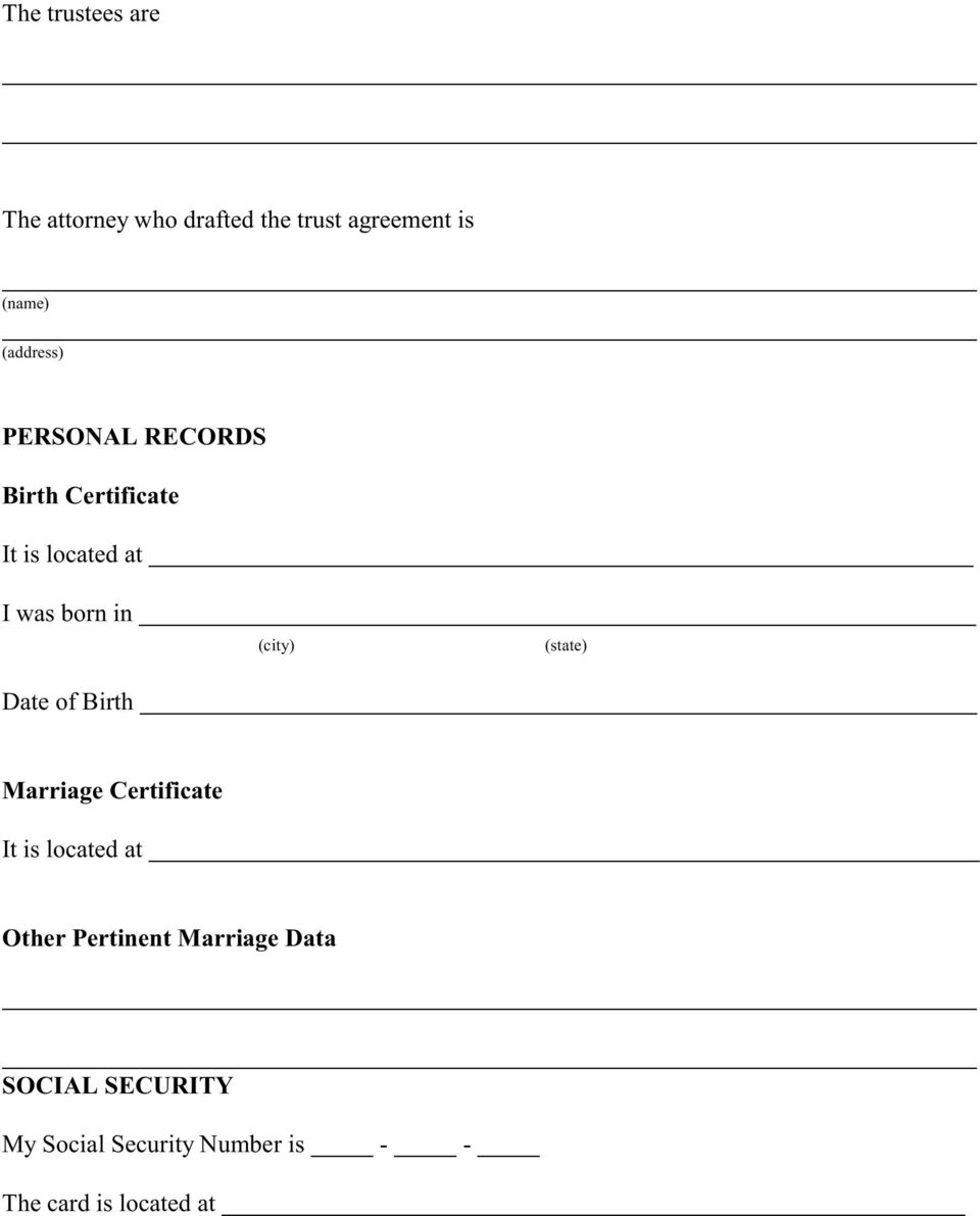 (city) (state) Marriage Certificate It is located at Other Pertinent