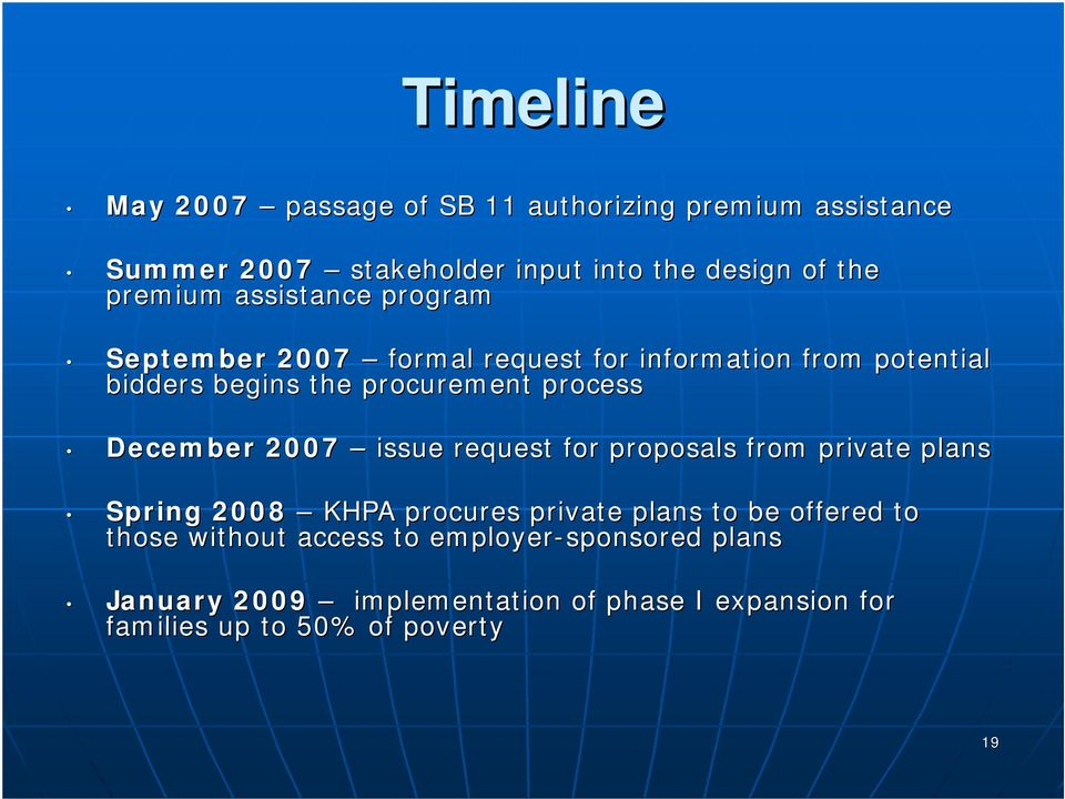 process December 2007 issue request for proposals from private plans Spring 2008 KHPA procures private plans to be offered