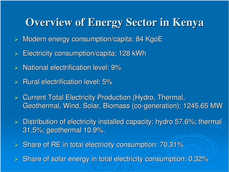 Wind, Solar, Biomass (co-generation): 1245.65 MW Distribution of electricity installed capacity: hydro 57.6%; thermal 31.