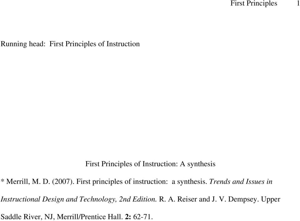 First principles of instruction: a synthesis.