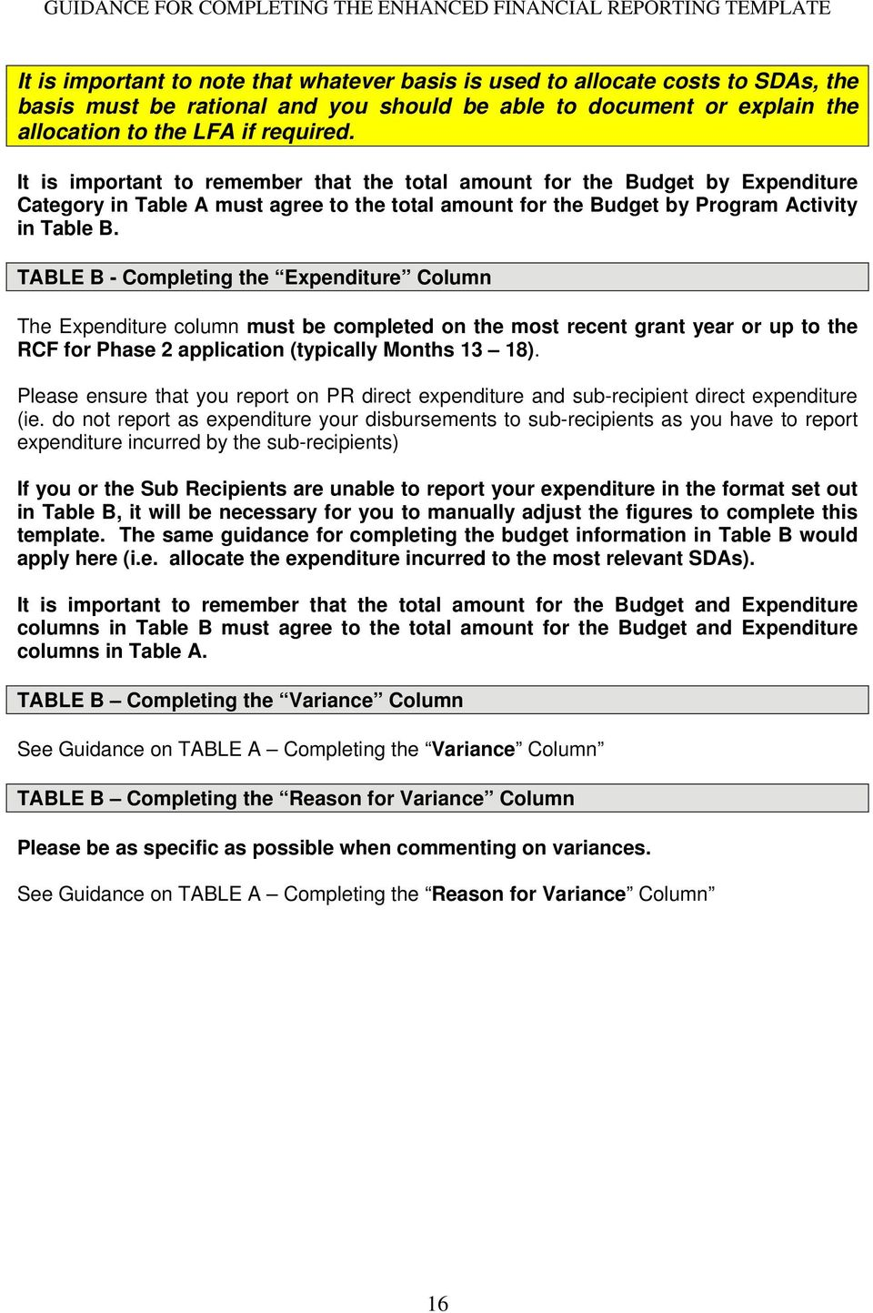 TABLE B - Completing the Expenditure Column The Expenditure column must be completed on the most recent grant year or up to the RCF for Phase 2 application (typically Months 13 18).