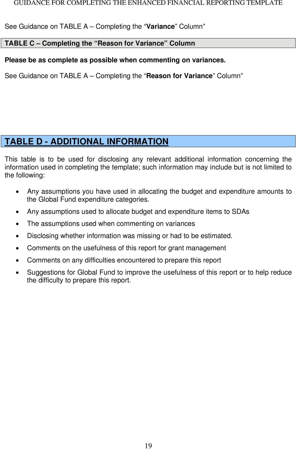 information used in completing the template; such information may include but is not limited to the following: Any assumptions you have used in allocating the budget and expenditure amounts to the