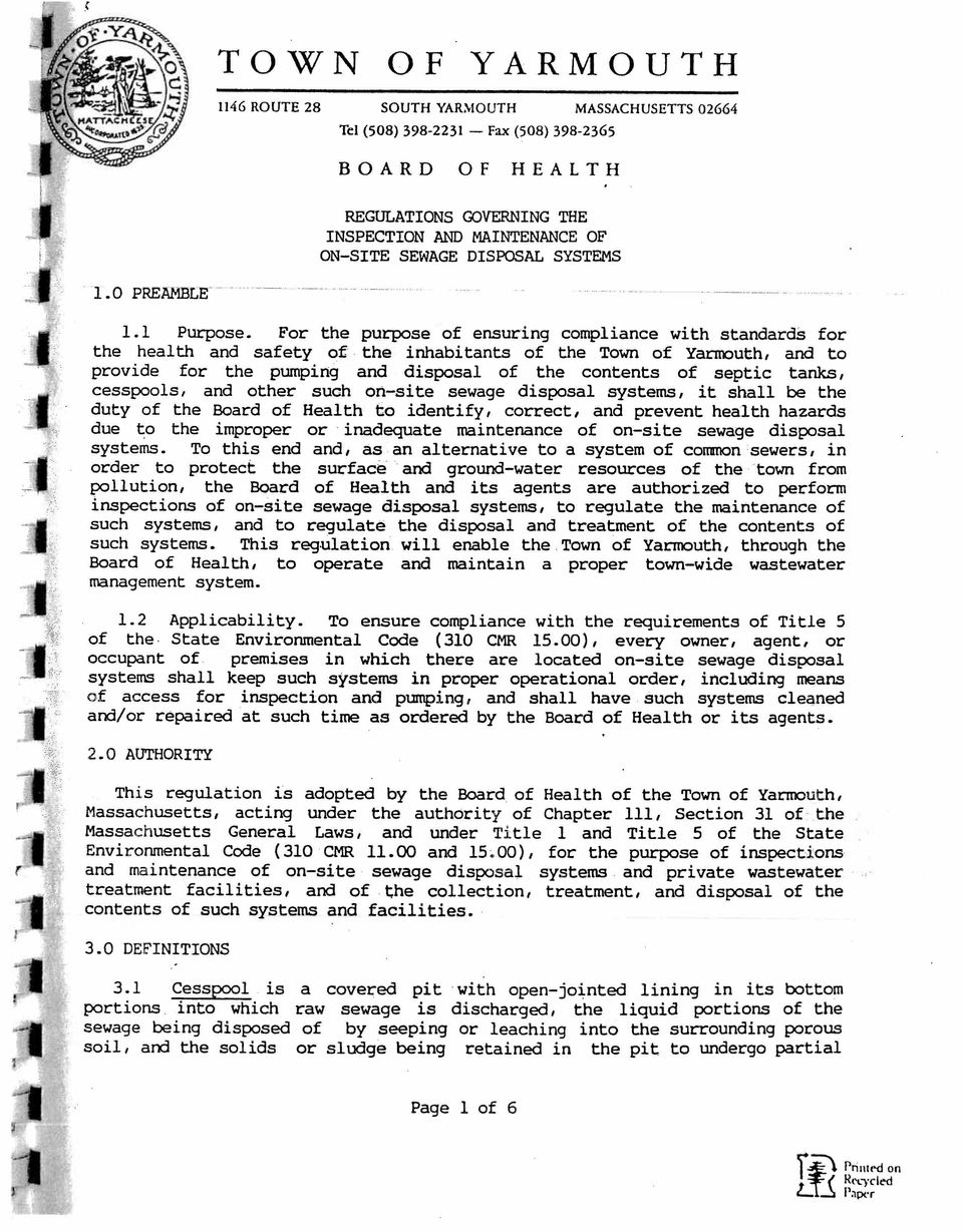 1 Town of Yarmouth, and to provide for the pumping and disposal of the contents of septic tanks, and other such on site sewage disposal systems, it shall be the duty of the Board of Health to