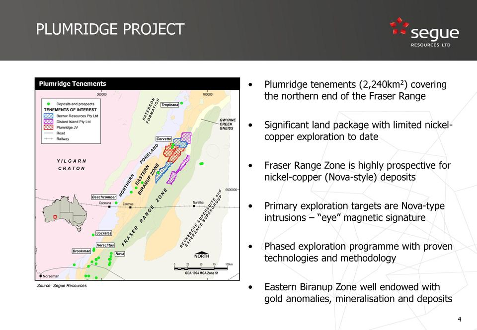 deposits Primary exploration targets are Nova-type intrusions eye magnetic signature Phased exploration programme with proven