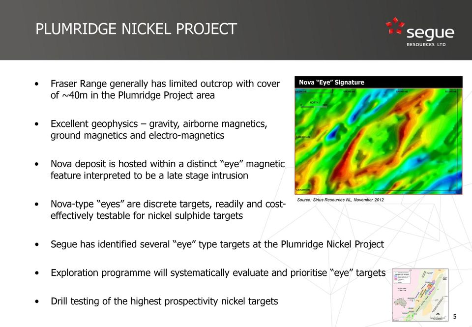 eyes are discrete targets, readily and costeffectively testable for nickel sulphide targets Source: Sirius Resources NL, November 2012 Segue has identified several eye